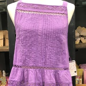 Free People Back Button Tank in Violet